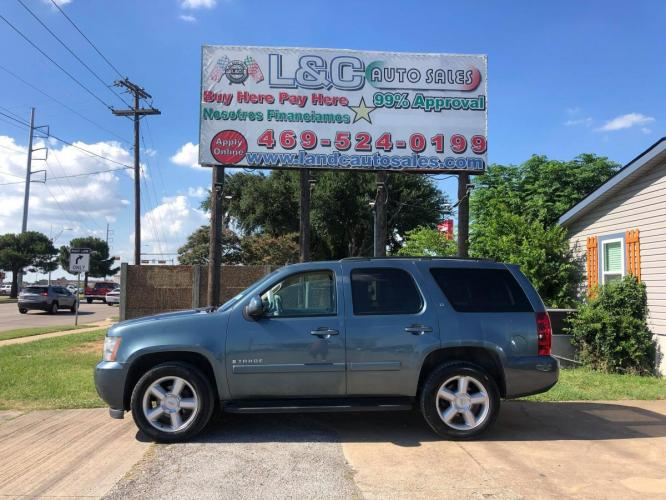 2008 Blue Chevrolet Tahoe LS 2WD (1GNFC13038R) with an 5.3L V8 OHV 16V FFV engine, Automatic Overdrive transmission, located at 1830 North Belt Line Road, Irving, TX, 75061, (469) 524-0199, 32.834373, -96.993584 - Photo #0